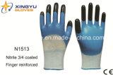Перчатки работы безопасности нитрила раковины полиэфира покрытые (N1513)