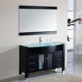 アメリカデザイン床のガラス洗面器が付いている永続的な虚栄心の浴室用キャビネット
