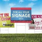 Signe politique de yard estampé par coutume faite sur commande de drapeau de yard d'immeubles de la publicité extérieure