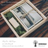 Caja de madera del álbum de foto del color natural de Hongdao con la tapa que se desliza Precio al por mayor _E