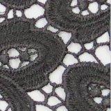 Schwarzes Blumen-Spitze-Gewebe wasserlösliches Lacefabric