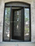 正方形の上のシンプルな設計の錬鉄の複式記入のドア