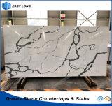 Pierre conçue neuve de quartz pour des partie supérieure du comptoir de cuisine avec les normes de GV et le certificat de la CE (Calacatta)