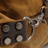 洗浄されたキャンバスファブリックハンドバッグ革キャンプ袋(RS-831-2)をステッチする革靴の革