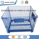Gaiola Stackable e Foldable industrial do aço do armazém de armazenamento