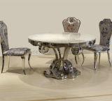 Hermosa Redondo de acero inoxidable Comedor de lujo tabla de mármol