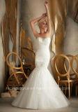 Embroidary moderno que perla a camada que plissa o vestido de casamento do vestido de esfera