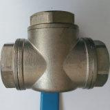 Válvula de esfera da maneira do aço inoxidável três com linha de NPT/Bsp