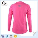 Розовый длинний износ спортов рубашки женщины рубашки втулки