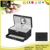 Caja musical hecha a mano de lujo negra de gama alta de la joyería
