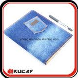 Изготовленный на заказ ткань Jean/плановик устроителя тетради связывателя свободных листьев крышки джинсовой ткани