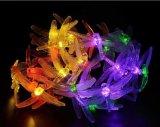 Libélula de la luz de la cadena de la energía solar 20-LED por el Nuevo-Año Lh-Ss06 de la boda de la Navidad