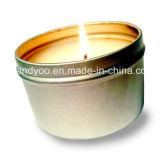Vela hecha a mano a mano natural de la lata de la soja con las cintas