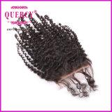 Produit capillaire bouclé crépu de Vierge de transport rapide, fermeture du lacet 1PCS avec le paquet du cheveu 3PCS, 4PCS/Lot, cheveu brésilien de Vierge d'enroulement crépu