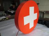 Sinal do indicador do quadro indicador do painel do diodo emissor de luz da cruz da farmácia da clínica do hospital