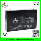 6V 7ah nachladbare Mf AGM-Leitungskabel-Säure-Batterie für Warnungssystem