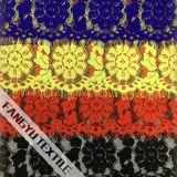 Tela grande popular do laço do algodão da forma da flor