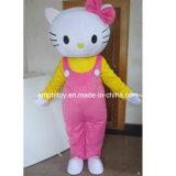 Hola traje rosado de la mascota del gatito para la promoción y la publicidad del acontecimiento