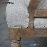 Antique Styleの居間(OZ-DC-006)のためのOrizeal New Design Solid Oak Frame Tufted Upholstered Fabric Chair