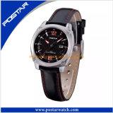 Relógio de pulso luxuoso da qualidade de quartzo com couro genuíno