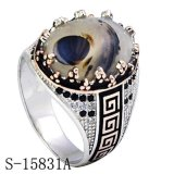 Juwelen 925 van de manier Echte Zilveren Ring met Zwart Agaat