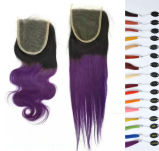 "7A 18 "" Virgin Hair Ombre Color Lace Closure 2tones 1b/#Red"