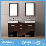Governo classico multifunzionale americano di vanità della stanza da bagno di legno solido con 2 bacini (BV189W)