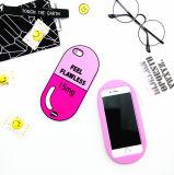 Caso de goma de la cubierta de la píldora rosada de lujo de la letra para el iPhone 6