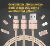 Het nieuwste Metaal tipt + Netwerk Gevlechte 1.5meter2.4A Elektrische Stroom van de Kabel van het Micro- USB Metaal van de Kabel USB voor iPhone 6 6s/5s en Samsung