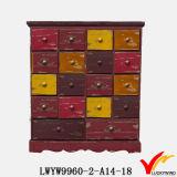 Module en bois antique solide de tiroir de molettes en cristal roses d'étiquette