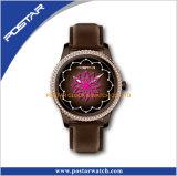Швейцарский wristwatch с полосой неподдельной кожи для повелительниц