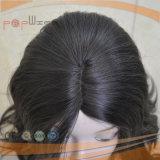 Peluca superior de seda encantadora de la cutícula de Remy del color natural negro del pelo humano