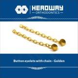 Occhiello basso rotondo accessorio ortodontico di buona qualità con la catena della trazione dorata