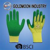 10g 2糸ははさみ金の緑の乳液の安全作業手袋を黄色にする