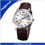 Relógio redondo do seletor da forma nova com a faixa do couro genuíno