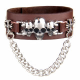 Il metallo personalizzato di modo incanta i braccialetti di cuoio (HJ6104)