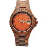 Relógio de pulso barato feito sob encomenda do OEM e madeira vermelha da sandália do ébano