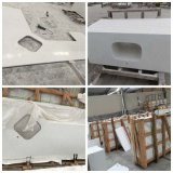 Künstliche Marmorcarrara-weiße Badezimmer-Eitelkeiten