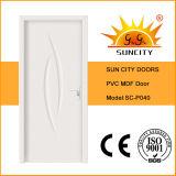 Preço branco da porta do PVC do MDF da fábrica econômica único (SC-P040)