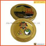 Diamant-innovatives Doppeltes versieht Epoxidbeschichtung-Goldmetallmünze mit seiten (JINJU16-040)