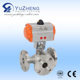 Gewinde 3PC Ball Valve mit Pneumatic Actuator