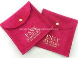 Petit sac de poches de cordon de bijou de téléphone mobile de velours fait sur commande d'organza