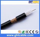 1.02mmcu, 4.8mmpe, 64*0.12mmalmg, Od: 6.8mm Black PVC Coaxial Cable RG6
