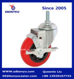 Schwenker Stem Caster mit Red Polyurethane Wheel u. Side Lock Brake