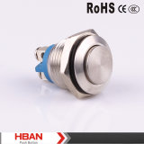 16mmの円形の高く平らなヘッド瞬時の金属の押しボタンスイッチ