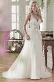 Мантии Tulle вечера партии V-Шеи Bridal цветут платье венчания Wan44