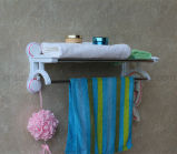 Barra fixada na parede da prateleira da cremalheira do armazenamento do suporte do trilho de toalha do banheiro do cromo dobro