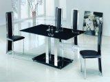 Черным спеченное цветом стекло верхней части обедая таблицы