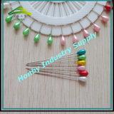 Farbige Plastikteardrop-Form-Perlen-Kopfcorsage-Stifte im Rad (P160322B)