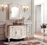 Античный шкаф тазика ванной комнаты твердой древесины